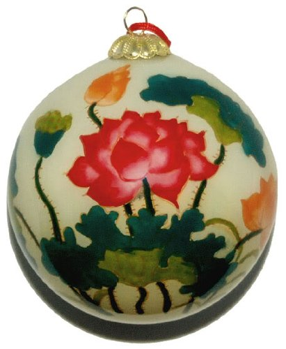 Hand Painted Glass Ornament, Lotus Flowers CO-161