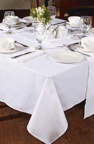 Tischdecke aus 100 % Baumwolle, 130 x 130 cm, Weiß