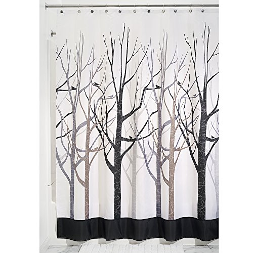 InterDesign Forest Shower Curtain, Gray and Black, 72 x 84-Inch ...
