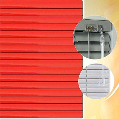 Aluminium Jalousie 90 x 200 cm (Breite x Höhe) – Lamellenfarbe 1306 feuerrot // Maßanfertigung Alu Jalousien Jalousette Rollo Plissee