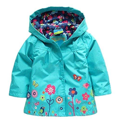 Baby Kid Girl Waterproof Hooded Coat Jacket Outwear Raincoat Hoodies (5T, Blue) (5t Girls Rain Jacket compare prices)