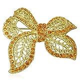 Fashion Alloy Filigree Ribbon Bow Gold-Tone CZ Brooch