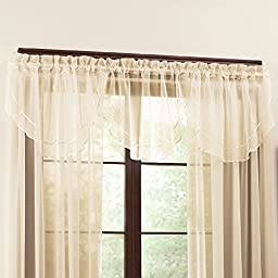 Collections Etc Tiered Sheer Scalloped Ascot Valance