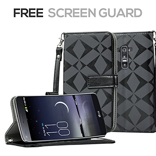 Sojitek Lg G Flex Ls995 D950 D958 D959 Premium Black Diamond On White Series Color Leather Wallet Case With Stand / Removable Strap, Card & Money Pockets, Id Window Slots Pouches + 1 Premium Hd Clear Or Matte Screen Protector