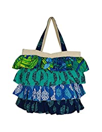 Frilly Designer Shopping Bag With 4 Tiered Frill, Cotton Canvas Printed Poplins, Zipper Closing, 2 Pockets