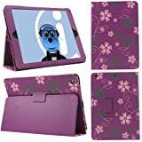 ITALKonline PADWEAR PURPLE PINK FLOWERS Multi Function Multi Angle Luxury Executive Wallet Stand Cover Typing Case with Magnetic Sleep Wake Sensor Feature For Apple iPad Air (2013) (Wi-Fi and Wi-Fi + 3G) 16GB 32GB 64GB 128GB