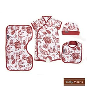 4 Piece Baby Gift Set in Burgundy Toile Size: 12-18 Months