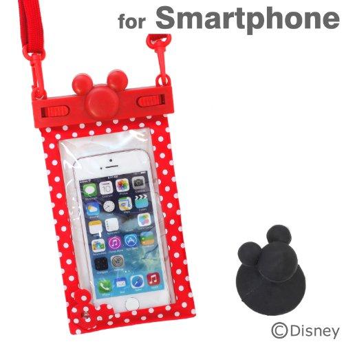 ディズニー キャラクター スマホ 防水 ケース カバー iPhone / iPhone5 / iPhone5S / iPhone5C / iPod / Disney Mobile / Xperia Z1f / Xperia A / Galaxy S4 / 各種 スマートフォン 対応 (レッド/ドット)