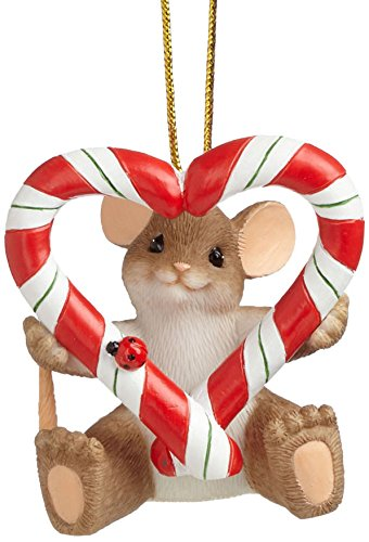 Enesco Charming Tails Gift Heart Candy Cane Ornament, 1.875-Inch