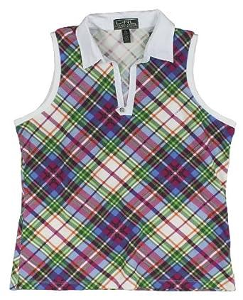 Lauren Active Golf Ladies Sleeveless Split-neck Plaid Polo Shirt by RALPH LAUREN