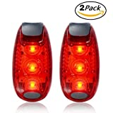 Kootek Red Flashing LED Safety Light with Free Clip on Velcro Straps Waterproof Sport Running Warning Strobe Tail Lights for Dog Collar, Walking, Cycling, Bike, Helmet, Batteries Included [2 Pack]