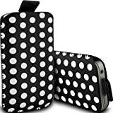 Fone-Case Motorola Motoluxe XT615 Protective Polka PU Leather Pull Cord Slip In Pouch Quick Release Case (Black & White)