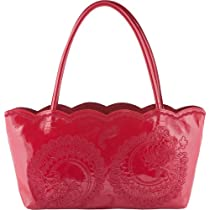 Jesselli Couture Buco Small Embroidered Tote Handbag, Red Patent