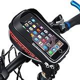 MOREZONE フレームバッグ 5.5インチ自転車スマホホルダー フロントバッグ iphone 6S Pls/6s/5s対応 スマートフォンサドルバッグ収納アクセサリー 赤