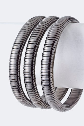 Karmas Canvas Metal Bracelet Set (Hematite) front-1060276