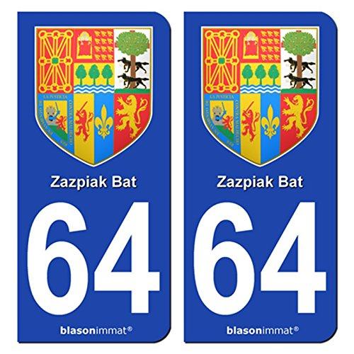 2-Stickers-de-plaque-dimmatriculation-auto-64-Pays-Basque-Armoiries