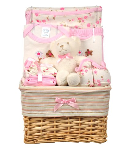 Girls Floral Bear Gift Basket