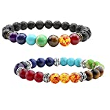 JSDDE Lava Armband, 2x Zen-Buddhismus Armreif Energietherapie Yoga-Armband 7 Chakra Healing Balance Buddha-Armband