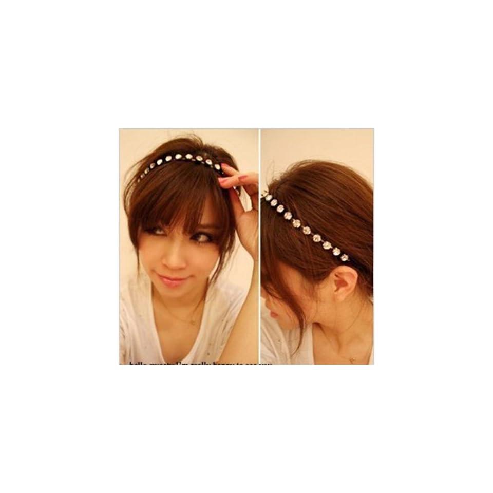 Easygoby Women Lady Silver Rhinestone Crystal Hair Band Elastic Headband