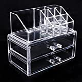 Topicker Clear Acrylic Cosmetic Holder Large 2 Drawer Jewerly Chest -- Make up Case Lipstick Liner Brush Holder Organizer