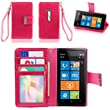 IZENGATE Executive Premium PU Leather Wallet Flip Case Cover Folio Stand for Nokia Lumia 900 (Deep Rose Pink)