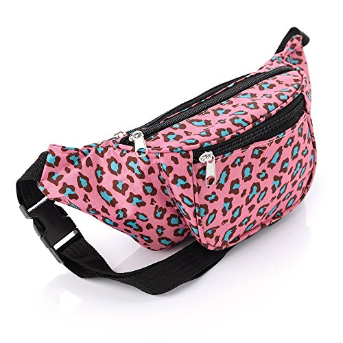 Pink and Blue Animal Print Waist Bag - Canvas with Adjustable Strap