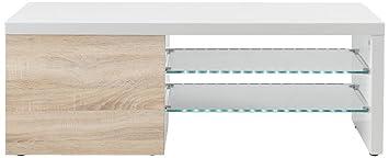 AC Design Furniture H000012573 TV-Tisch Birger, Front Sonoma Eiche Nachbildung, 1 Tur mit 1 Einlegeboden, 2 Glasböden mit LED-Beleuchtung, circa 120 x 44 x 42 cm, weiß Hochglanz