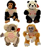 Animal Teddies, Koala, Panda, Gibbon, Chimp, Birthday Gift, Baby Shower Gift, Wedding Favour (Large Chimp)