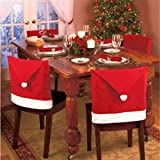 Generic Christmas Dinner Decoration Decor Santa Clause Red Hat Chair Back Cover Christmas Decoration H0039