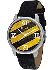 Timelf Analog Multi Colour Dial Women Casual Watch In Silver Round Case And Black Leather Strap - B01JZHYPDG
