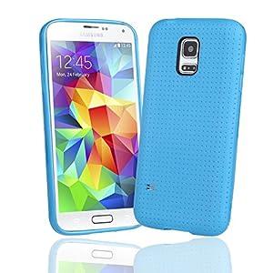 EnGive Samsung Galaxy S5 Mini Hülle Silikon Weich Tasche Case Schutzhülle (Hellblau)