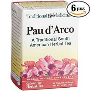 Traditional Medicinals Pau D'Arco Herbal Tea, 16-Count Wrapped Tea Bags (Pack of 6)
