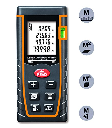 Arama Digital Laser Distance Meter 80m Measure tool Range Finder with Large Backlit LCD 4 Line Display, Bubble Level, Self Calibration Rangefinder (LDM-T80 80m 262ft)