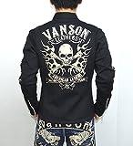 VANSON バンソン NVSZ-615 綿混ダブルスムースライダースジャケット ブラック色 シングルライダース バイカー アメカジ サイズL