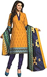 Tripssy Women's Cotton Printed Unstitched Salwar Suit (tr_dm_09, Pink)