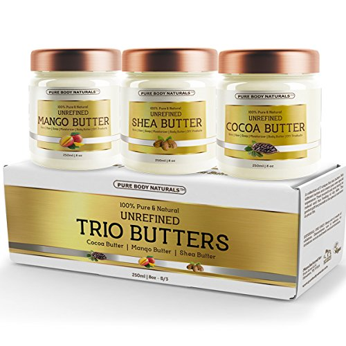 Triple Butters Gift Set - Shea Butter Cocoa Butter and Mango Butter Unrefined 100% Pure & Natural (3 jars x 8 oz ) by Pure Body Naturals (Village Press Olive Oil compare prices)