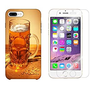 Snoogg Beer Filled In Glass Combo Designer Protective Back & Shatter Proof Tempered Glass For APPLE IPHONE 7 PLUS