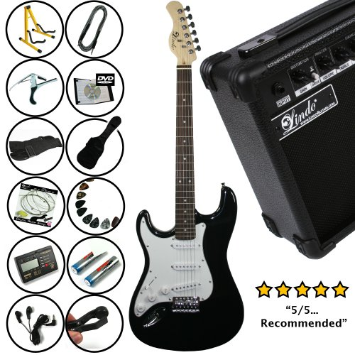 Lindo *Deluxe Pack* Black Left Handed Strat Electric Guitar and 15w Amp Pack *Includes an extra 12 Accessories* EVERYTHING YOU NEED!