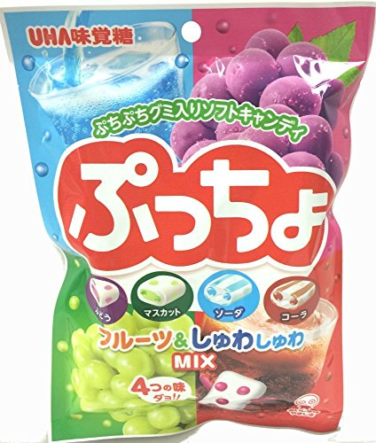UHA Puccho Miracle 3.5oz 4 Flavor Mix Cola, Ramune Soda, Grape and Muscat