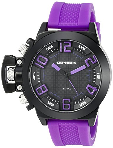 Cepheus Men's Quartz Watch with Black Dial Analogue Display and Purple Silicone Strap CP901-620