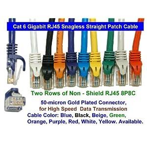Cable  Gigabit Ethernet on Cat6 Gigabit Network Dsl Ethernet Rj45 Snagless Straight Patch Cable