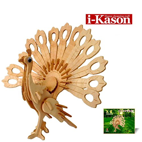 Authentic High Quality i-Kason® New Favorable Imaginative DIY 3D Simulation Model Wooden Puzzle Kit for Children and Adults Artistic Wooden Toys for Children - Peacock