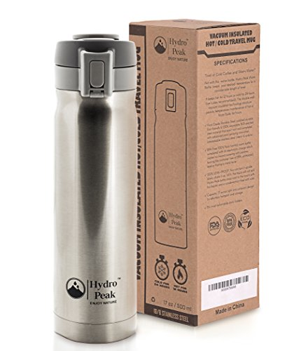 Hydro Peak 17oz Double Wall Vacuum Insulated 304 Stainless Steel Coffee Travel Mug, One Touch Lock Lid Thermos Water Bottle, Keeps Drinks Hot for 12 Hours and Cold for 24, Color Champagne (Thermal Travel Mug Coffee Cup 24 compare prices)