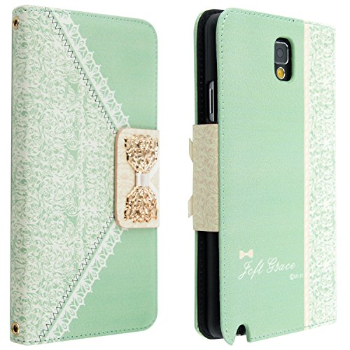 Bow Lace Fashion Wallet Flip Feature with Credit/id Card Slots/holder&strap PU Leather Bling Case Cover For Samsung Apple Smart Mobile Phone (Samsung Galaxy Note 3 III N9000)