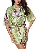 Yidarton Damen Morgenmantel Kimono Robe Bademantel Nachtwäsche kurz aus Satin