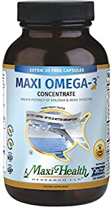 Maxi Health Omega-3 Fatty Acids Concentrate - Fish Oil - 2000mg - 180 + 20 Gel Capsules - Kosher