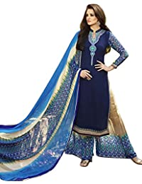 RGN Retails Georgette Embroidered Dress Material For Salwar Suits(5762_Blue Colour)