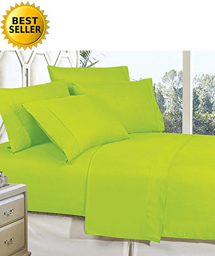 Celine Linen Best, Softest, Coziest Bed Sheets Ever! 1800 Thread Count Egyptian Quality Wrinkle-Resistant 4-Piece Sheet Set with Deep Pockets 100% HypoAllergenic, Full Lime