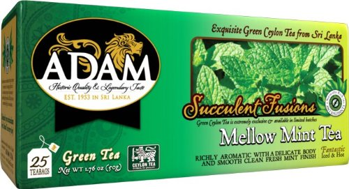 Adam Green Mint Tea, Single Pack, %100 Pure Ceylon Tea 25 Count Individually Wrapped Double Chamber 2 Gram Micro Wave Safe Tea Bags. Marked With Ceylon Lion Seal Logo As Proof Of Premium Quality Certification.