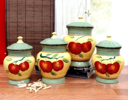 Red Apple Kitchen Storage Jars